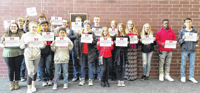 """Congratulations to the Students of the Month for April - Charlie Leggs, Haleigh Meyer, Kadence Hegyi, Duy Vo, Kaden Burnsworth, Shem Moser, Olivia Van Schaik, Aaron Grilliot, Lillian Powell, Isaac McConnaughy, Kylie Stamper, Gabriella Fritts, Allan Mojica, Grace Gruen, Zachary Sturgill, Zachariah Williams, Avery Sullenberger, and Jacob Stoll (not pictured). These students were selected by their teams of teachers for their hard work; being respectful; responsible; and having a positive attitude. The students will be treated to a special """"Pizza with the Principals"""" luncheon with Mr. Carey and Mr. McCollum on Friday, April 27th."""
