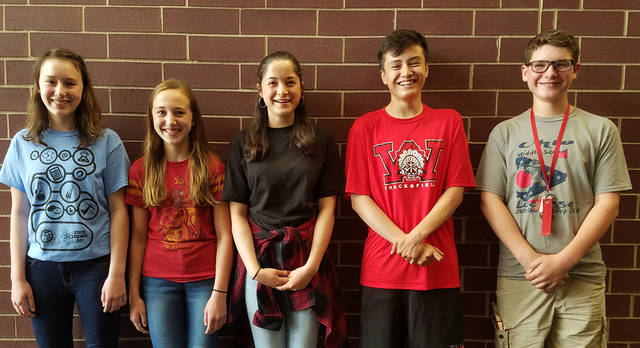 Pictured left to right are Weisenborn Junior High Students who competed at the State Science Day at Ohio State University: Jenna Roberts, Emma Mainord, Raelee Lance, Miguel Abeldano, and James Zbinden.