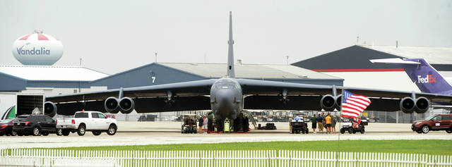 A B-52 Stratofortress arrives on the ramp at the Dayton International Airport for the 2018 Vectren Dayton Air Show on Thursday afternoon. The giant aircraft, once a common sight at air shows, is now a rarity. The B-52 will be on static display both Saturday and Sunday.