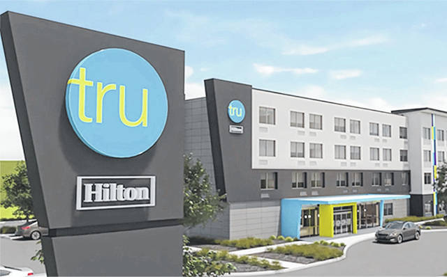 This artist rendering shows the typical layout of a Tru by Hilton hotel.