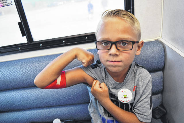 <strong>'Future blood donor' Easton Tyree at 2017 Huber Heights National Night Out Blood Drive.</strong>