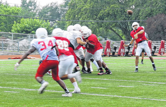 <strong>Sophomore quarterback Cam Fancher fires a pass to wide receiver Laquan Carpenter during a scrimmage against Lakota West.</strong>
