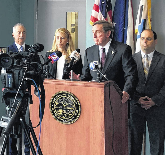 The Montgomery County Prosecutor's Office announced a lawsuit against manufacturers and distributors of opioid medications last Wednesday. Pictured left to right are Criminal Division Chief Leon J. Daidone, Civil Division Chief Mary E. Montgomery, Prosecuting Attorney Mat Heck, Jr., and Appellate Division Chief Andrew T. French.