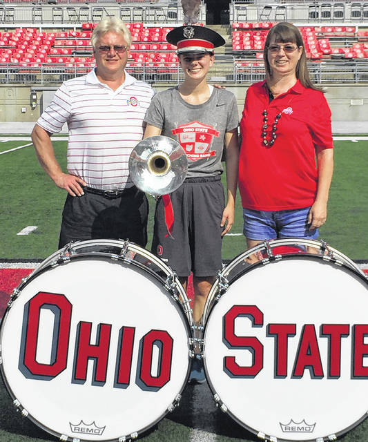 Sarah Stewart, a 2015 Wayne graduate and former field commander for the Wayne Marching Band, auditioned and was selected for a spot in the 228-member Ohio State Marching Band. Stewart is pictured with her parents Kathleen and John Stewart.