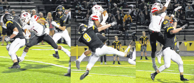 <strong>Steven Victoria makes a leaping catch over Centerville defensive back Jonathan Bruder and then races for the end zone for a Wayne touchdown.</strong>