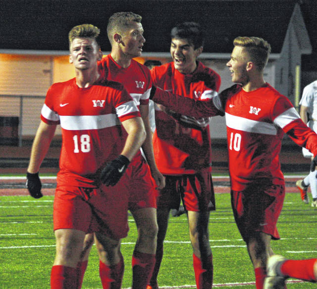 <strong>Warriors celebrate first goal…left to right Nick Riffle, Mitchel Hawley, Alex Fernandez, and Chase Wynkoop.</strong>