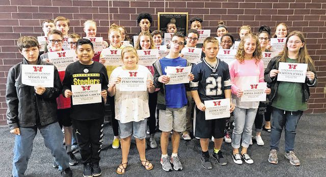 """Congratulations to the Weisenborn Junior High School Students of the Month for September Mustafa Abdel-Latif, Damion Baccus, Jr., Sophia Bailey, Martel Baker, Dakota Boring, Rebecca Bowens, Payton Childers, Zyah Compton, Marina Dilbeck, Tana Faulker, Mason Fox, Jeremiah Garcia, Du'Juan Howard, Nikolas Jancha, Grace Kissee, Wyatt Mahaffy, Joshua Mallas, Peyton Mollett, Elizabeth Moore, Caitlyn O'Dell, Anastasia Osborne, Daniel Patterson, Ciara Pearson, Lawrent Rice, Caleb Shuherk, and Jayden West. These students were selected by their teams of teachers for their hard work; being respectful; responsible, and having a positive attitude. The students were treated to a special """"Pizza with the Principals"""" luncheon with Mr. Carey and Mr. McCollum."""
