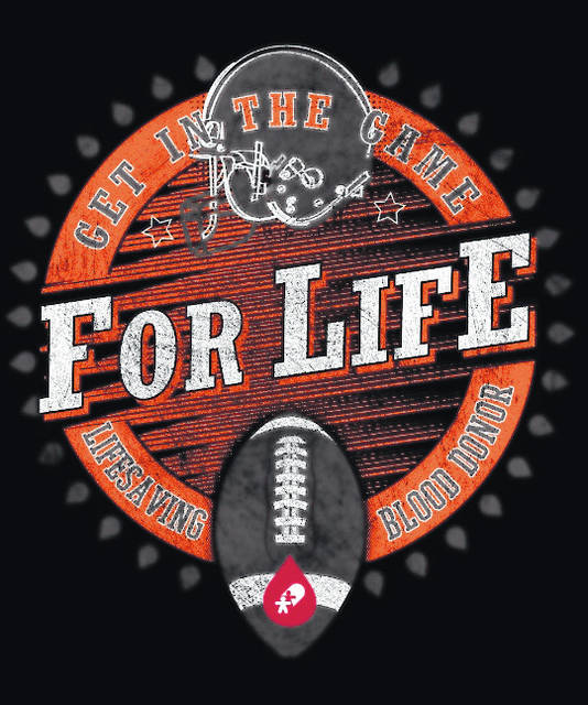 "Everyone who registers to donate at the St. Matthew Lutheran Church community blood drive will receive the ""Get in the Game For Life"" football t-shirt."