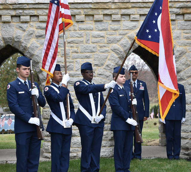 The Wayne High School Air Force Junior ROTC color guard presented the colors at the Veterans' Day Ceremony at Dayton Memorial Park on Monday, November 12. The ceremony featured a roll call of Veteran interments in the past year and a 21 gun salute by the Arkenberg-States VFW Post 6861.