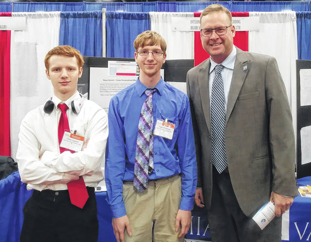 <strong>Computer Coding and Web Applications seniors represent MVCTC at the OSBA Student Achievement Fair in Columbus on November 12, 2018. Pictured left to right - Chris Lawson (Huber Heights), Tyler Branham (Arcanum), and David Peltz (MVCTC Supervisor).</strong>