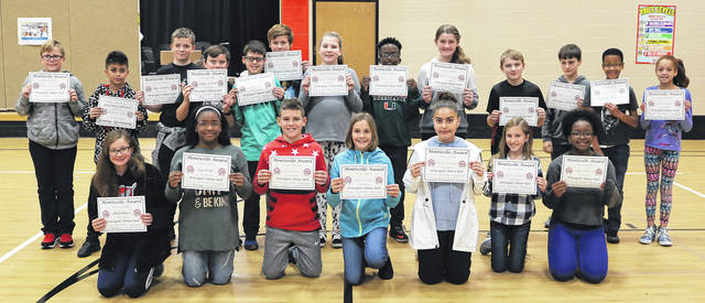 Monticello Elementary School held an assembly last week to recognize student achievement in the first quarter. Kneeling, left to right, are Makayla Wayman, Jayla McCloud, Joey Tobe, Claire Todd, Amina Muradova, Lillian Creeger, Sydney Williams; standing, left to right, are Bowen Davis, Luis DePaz, Cody Shuherk, Ethan Willets, Gage Ison, Ben Bentz, Caris Geeding, V. J. Gibson, Heidi Kennard, Stephen Krauz, Tyler Morris, Laurence McCorkle, and Britani Sanders.