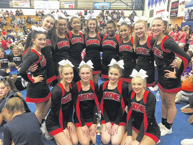 Wayne High School Varsity Competition Cheerleaders take third place out of 10 school teams at Miamisburg High Schools Jump Shout Cheer Competition on Sunday, November 4. Pictured are	Sarai Combs, Jenna Woodruff, Tatyana Noaks, Kiara Drew, Lily Claude, Yasmine McKinney, Bryanna Byrd, Josie Wills, Haleigh Larman, Alexis Smith, Britney Kozlowski, Gracie Pelfrey, Kelsey Sherlock, and coaches Jacqui Ziegler and Taylor Belcher.