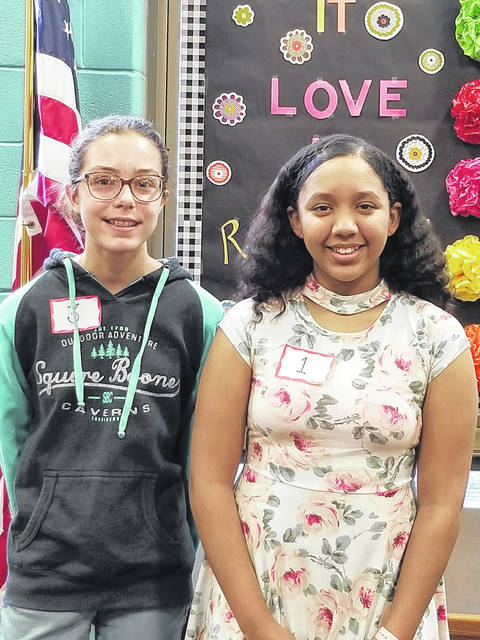 Congratulations to 2018-19 Weisenborn Junior High School Spelling Bee Aaliyah Hooper (right) and to Enna Eastman (left), the runner-up! Both girls will represent Weisenborn in the Huber Heights City Schools District Spelling Bee to be held on January 9. All 30 finalists who competed in the Spelling Bee put forth a fantastic effort.