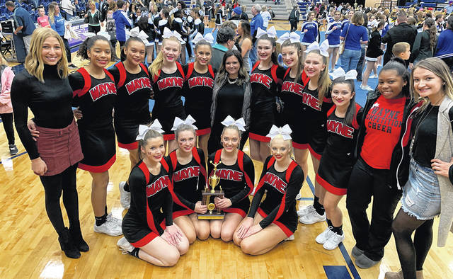 The Wayne Varsity cheerleaders took sixth out of 18 schools at GWOC competition Saturday, December 1, 2018. Pictured are Sarai Combs, Jenna Woodruff, Tatyana Noaks, Kiara Drew, Lily Claude, Yasmine McKinney, Bryanna Byrd, Josie Wills, Haleigh Larman, Alexis Smith, Britney Kozlowski, Gracie Pelfrey, Kelsey Sherlock. The Warrior Cheer Squad is coached by Head Coaches Jacqui Ziegler and Taylor Belcher and Coach Lilly Waite.
