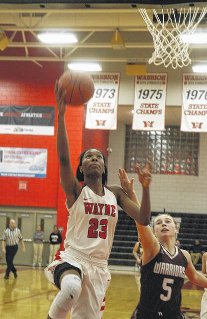 <strong>Aubryanna Hall scores a layup during the first half vs. Lebanon.</strong>