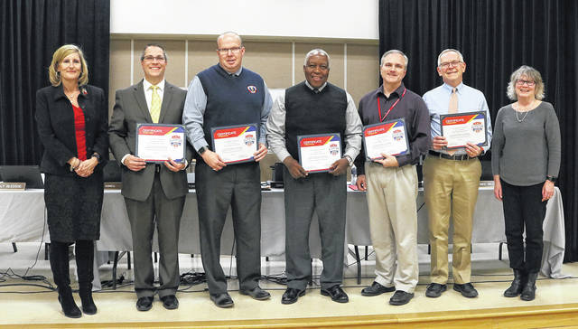 January is School Board Recognition Month, and Superintendent Sue Gunnell presented certificates to members of the Huber Heights Board of Education. Pictured left to right HHCS Treasurer Gina Helmick, Board of Education Members Tony Cochren, William Harris, Mark Combs, Kelly Bledsoe, and HHCS Superintendent Susan Gunnell.