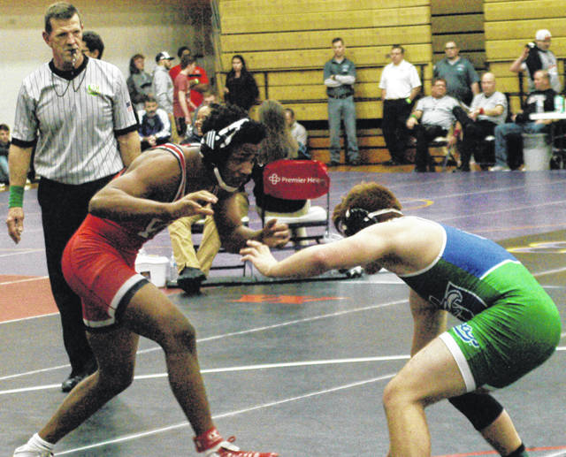 <strong>Jaden Hardrick of Wayne (160 pounds) pinned Nicholas Machuca (Chaminade-Julienne) in 1:46 in the third round of the GMVWA Holiday Tournament.</strong>
