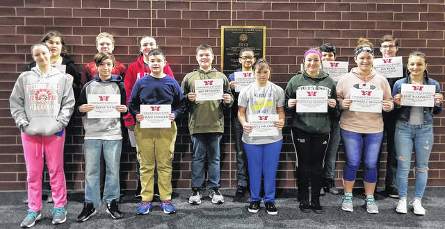 "Congratulations to the Weisenborn Junior High School January Students of the Month - Devon Baldwin, Kimberly Brown, Jax Byrd, Diego Herrera Aquino, Cheyenne Huffman, Elif Kazimova, Ashlynn Mandich, Alec McKnight, David Osterfeld, Natalie Page, Ben Petroski, Jonathon Stover, Craig Vossler, Evelyn Wentworth, Amiya Williams, and Anthony Wurst. These students were selected by their teams of teachers for their hard work; being respectful; responsible, and having a positive attitude. The students were treated to a special ""Pizza with the Principals"" luncheon with Mr. Carey and Mr. McCollum."