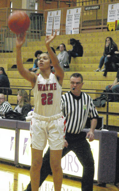 <strong>Olivia Trice scores from 3-point range early in the game vs. Xenia.</strong>
