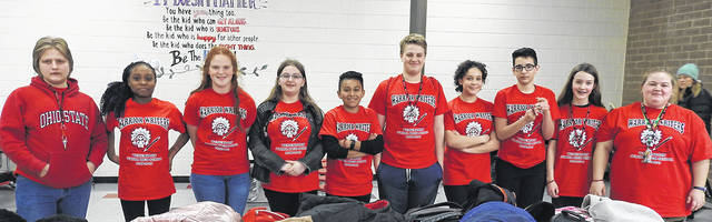Power of the Pen Warrior Writers are pictured left to right: Austin Dixon (8th grade), De'airra Reid (7th), Kadence Fitzpatrick (8th), Caitlyn O'Dell (8th), Randy Martin (7th), Grady Baumgartner (8th), Delaney Prim (7th), Shawn Webb (7th), Valery Cooper (7th), and Meredith Corby-Brown (7th).