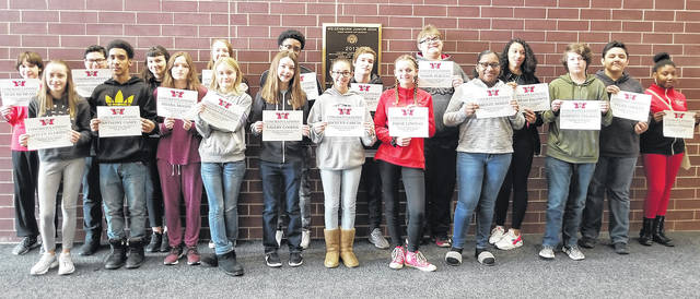 "Congratulations to the Weisenborn February Students of the Month - Jamyah Baldwin, Breeze Binion, Mason Burgess, Anthony Casey, Kameron Cheadle, Valery Cooper, Kyle Coots, Kaitlyn Eldridge, Jocelyn Garcia, Savannah Henderson, Paige Lindsey, Tyler Lovett, Sean McMeans, Haleigh Meyer, Briana Moody, Francisco Ramirez Gomez, Logan Richey, Nick Romig, Zarena Stinson, Jacquan Tabor, and Audrey Walker. These students were selected by their teams of teachers for their hard work; being respectful; responsible, and having a positive attitude. The students were treated to a special ""Pizza with the Principals"" luncheon with Mr. Carey and Mr. McCollum."