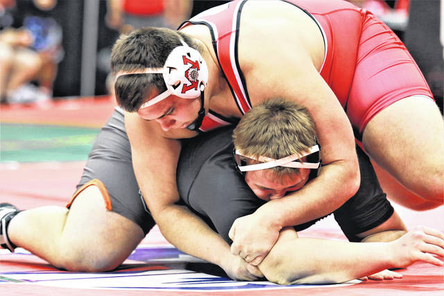 <strong>Wayne heavyweight Jacob Padilla won by a fall in 1:18 over Tyler Jones of North Olmsted in the first round at the state tournament.</strong>
