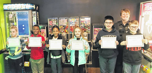 The Safety Patrol students chosen for the month of February are Collin Wetherholt (Monticello), Peyton Stroder (Rushmore), Nia Taylor (Monticello), Emma Watson (Rushmore), and from Wright Brothers Jake Fernandez and Owen Penrod. Not pictured from Charles Huber are Amiel Jones, Ben Lehman and Madison Ward and Valley Forge students Aeriana McCaffrey-Parks and Chris Frost.