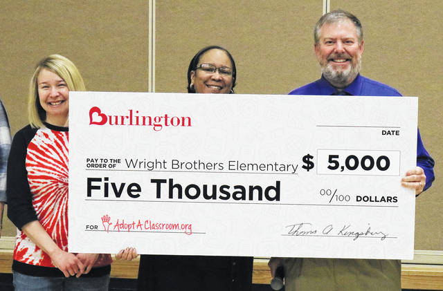 Valley Forge Elementary and Wright Brothers Elementary are receiving $5,000 each from Burlington Stores, Inc., through its partnership with AdoptAClassroom.org in celebration of its new store in Huber Heights.