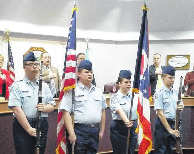 The Wayne High School Air Force Junior ROTC presented the colors prior to the Huber Heights City Council meeting on Monday.