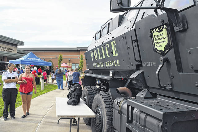 <strong>A scene from the Huber Heights 2018 National Night Out held at Wayne High School.</strong> (Contributed photo)