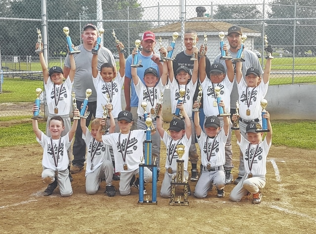 Hoffman's Roofing and Siding 8u coach-pitch team won the regular season and tournament championships this year. It was Greg Hoffman's fifth year of sponsoring the team.