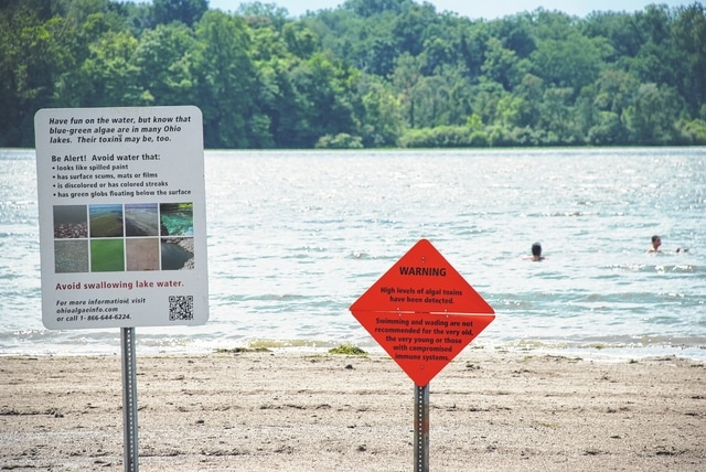 Kiser Lake beach is under an advisory to swimmers and waders due to toxic algal bloom. Children, the elderly or people with sensitive immune systems should not swim or wade in the Kiser Lake water due to high levels of microcystin during this public health advisory, which was issued by the Ohio Department of Natural Resources.