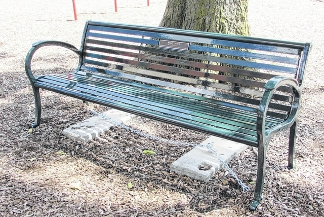 The Buddy Benches at North and South elementaries are sturdy metal. They are the result of donations from several businesses and families, to replace the damaged one at North and put in a new one at South.