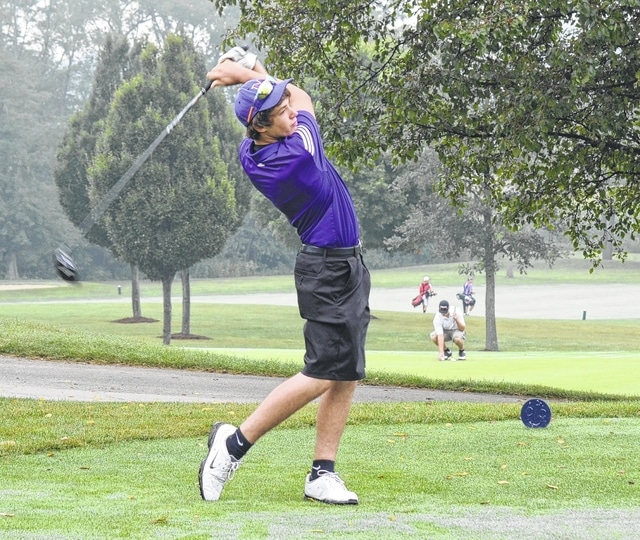 Mechanicsburg's David McMahill tees off on the 4th hole at Urbana Country Club Tuesday morning.