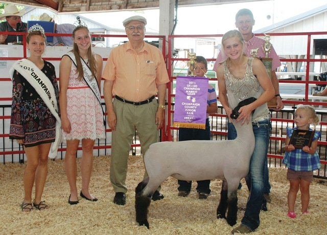 Annie Springer's Champion 4-H Market Lamb, Showman of Showmen, sold for $3,500 to Laird's Tax Service.