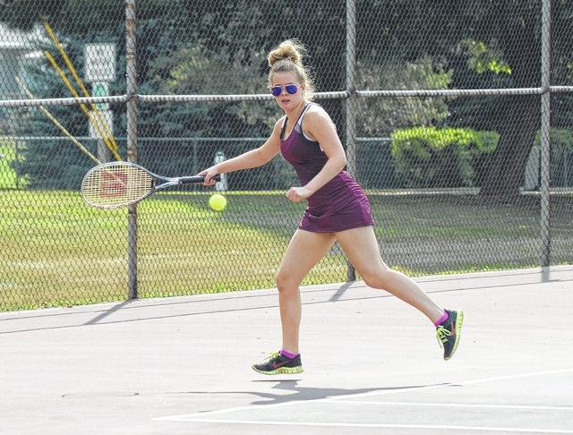Urbana's Morgan Lattimer chases down a ball hit by her Stebbins opponent Tuesday at Melvin Miller Park. Setbbins won the match, 5-0. At 1st singles, Haylee Johns lost to Elmira Ukhtiyayeua, 6-4, 6-0. At 2nd singles, Lattimer fell to Vily Ngo, 6-1, 6-3 and at 3rd singles, Bri Ussher lost to Thuy Nguyen, 6-3, 6-2.