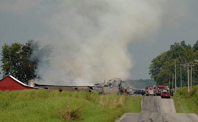 Multiple fire departments responded to a barn fire at 1741 Mennonite Church Road Sunday afternoon. The blaze destroyed the barn and the cause of the fire was undetermined as of Monday afternoon.
