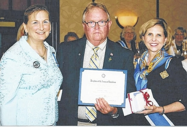 The guest of the Urbana Chapter DAR was former Army Platoon Sgt. and Vietnam Veteran Bob Max, center, pictured with Kate Lamb, state chairman for the Vietnam 50th Anniversary Commemoration and President General NSDAR Lynn Forney Young.