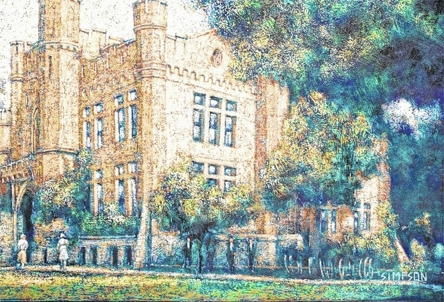 An exhibit of local artist Mike Simpson's artwork will be held 5:30-8 p.m. today in the Arts Council and Mike Major Studio on Miami Street. Simpson's work includes many illustrations of local historic structures, including this rendition of Urbana High School.