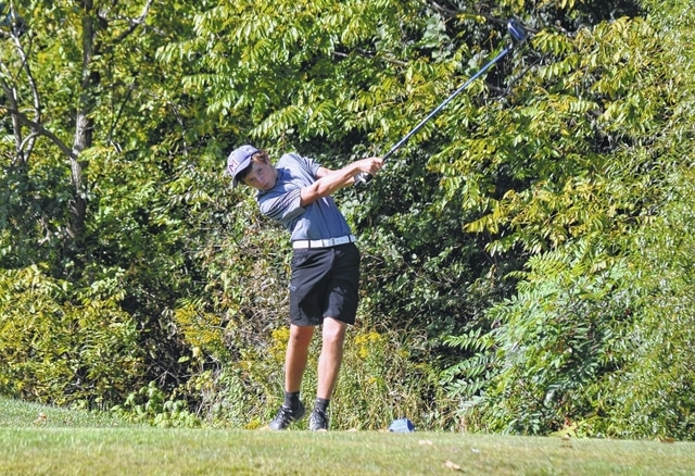 Mechanicsburg's Caleb Westfall tees off against West Liberty-Salem on Monday. Westfall shot 35 and earned medalist honors for the Indians.