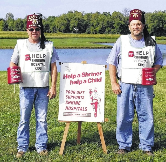 Champaign County Shrine Nobles will be help collect on Sept. 12. Pictured are Ty Burroughs (left) and Steve Runkle.