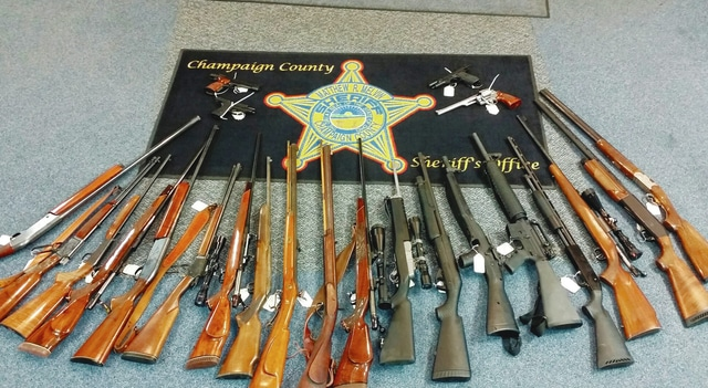The Champaign County Sheriff's Office and the Springfield Police Department's Special Investigation Unit executed a search warrant at a Ridge Road residence earlier this week and found 23 firearms and drug items.