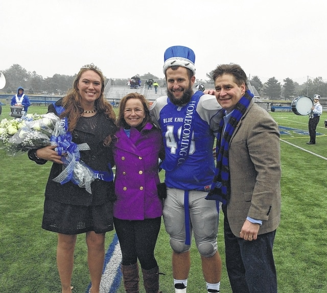 Dr. George Lucas, new Urbana University president, and his wife, Debbie, crowned Homecoming King Taylor Cayot of Bellefontaine and Queen Macie Jenkins of Cable during Homecoming festivities Oct. 2-3 on campus.