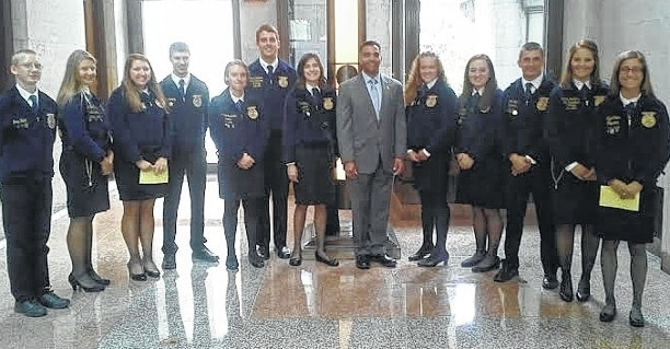 Mechanicsburg and Urbana FFA members pose with state Rep. Nino Vitale (R-Urbana) and state FFA Vice Presidents At Large Lesley Shanahan of Mechanicsburg and Ryan Goddard of Graham.