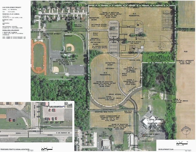 This map shows the proposed plan for the Urbana City Schools pre-kindergarten through eighth-grade school. The map was presented to the Urbana Planning Commission on Monday by building project architects Fanning Howey Associates as part of the preliminary site plan. Although not depicted on the map, the newest site plan calls for the two athletic fields shown in the northeast corner of the property to be moved. The softball diamond is now located in the southeast corner, while the soccer field is now located in the southwest corner.