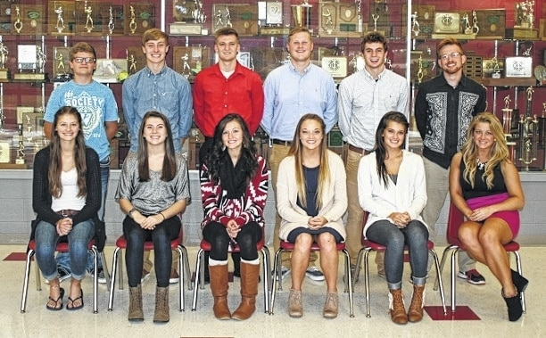 The 2015 Triad Homecoming Court includes, front row from left, MaKenzie Cauley, Sydney Propst, Macey Bailey, Allison Ross, Hanna Long, Shelby Keately, back row from left, Alec Lowry, Briley Harlan, Colby McConnell, Easton Deady, Tim Marsalis and Zack Moore. Triad's Homecoming game is Friday, Oct. 16.