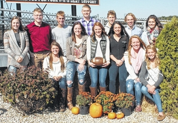 The 2015 West Liberty-Salem Homecoming Court includes, front row, from left, Senior Queen candidates Blake Cupps, Taylor LeVan, Madison Woodruff, Abby Stewart, Leah Cole, and Jr. Attendant Katie Hartsel. Back row, from left, are Freshman Attendant Gabby Hollar, Senior King Candidates Caleb White, Joey Adams, Brad Burt, Trevor Anderson, Dusty Moell, and Sophomore Attendant Mallary Caudill.