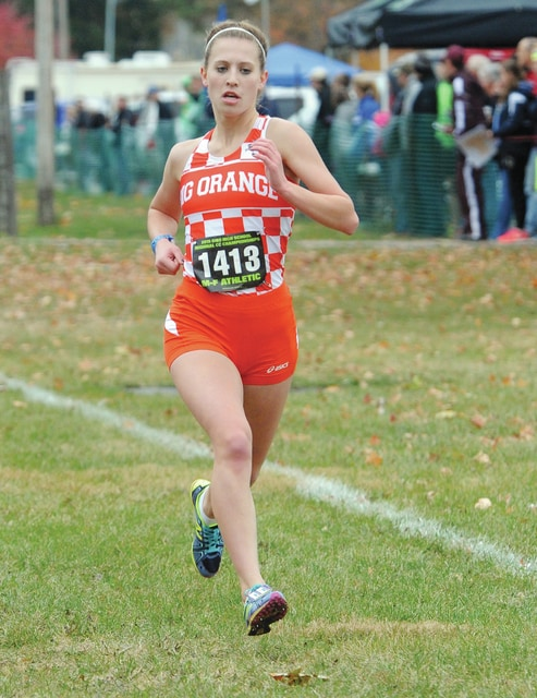 WL-S's Reghan Bieleski (pictured) heads toward the finish line during Saturday's Division III regional cross country meet at Troy. Bieleski placed 14th overall to qualify for this week's state meet.