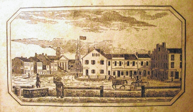This 1846 drawing is in the 1847 and later editions of Henry Howe's Historical Collections of Ohio. The view is of the northeast corner of the Public Square looking down North Main Street. It is perhaps the earliest street scene of downtown Urbana. The drawing was reproduced as a print, which is shown in this illustration.