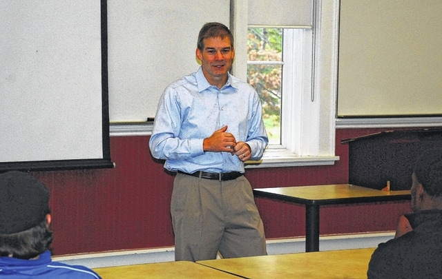 U.S. Rep. Jim Jordan (R-Urbana) is pictured speaking to Urbana University students on Monday at Barclay Hall.